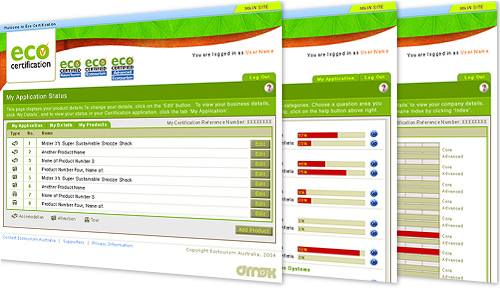 screengrabs of eco certification website design